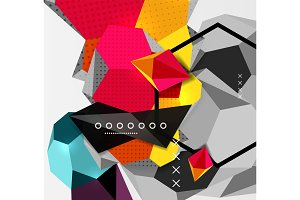 Color 3d geometric composition poster