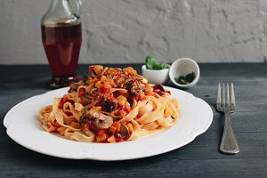 Tagliatelle with mushrooms Bolognese