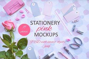 Stationery pink mockups