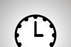 Clock face showing 3-00, simple icon