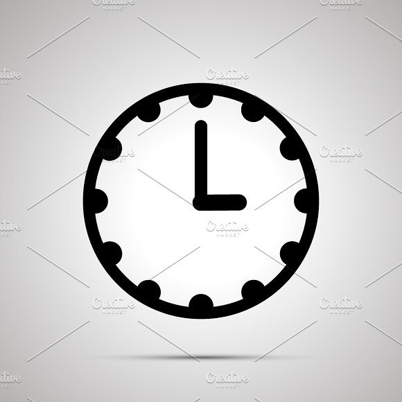 Clock Face Showing 3-00 Simple Icon