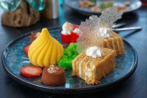 Desserts on marble plate