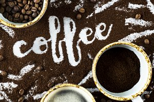 The word coffee on ground coffee