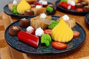 Plates with different sweets