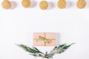 Gift box, Christmas balls