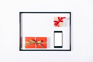 Red gift boxes with ribbons