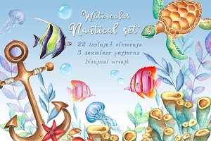 -30% SALE Watercolor nautical set