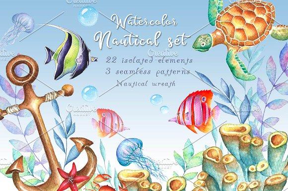 -30% SALE Watercolor Nautical Set