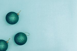 Green shiny Christmas balls