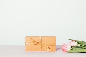Gift box wrapped with kraft paper