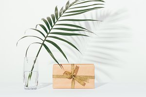 Gift box and a palm leaf in a glass