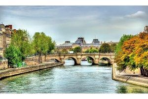 The Seine and Pont Neuf bridge in Paris - France