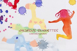 Silhouettes of children. Watercolor.