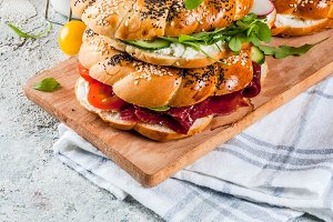 Various bagels sandwiches