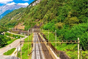View of the Gotthard railway in Swiss Alps