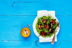 Grilled prawn shrimp salad