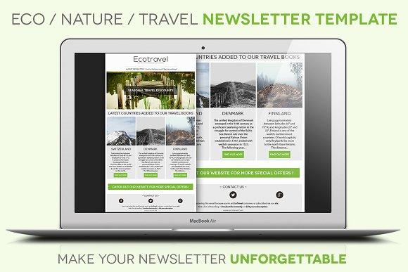 eco travel newsletter template email templates creative market