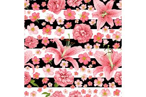 rose and lily seamless pattern. vector card.