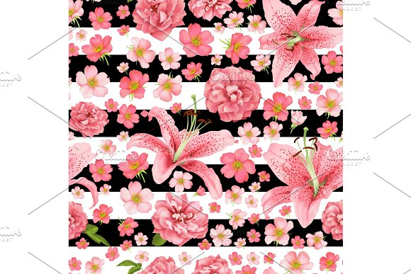 Rose And Lily Seamless Pattern Vector Card