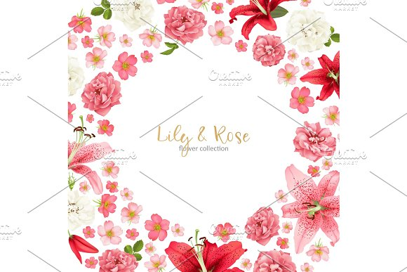 Rose And Lily Wedding Invittion Vector Card