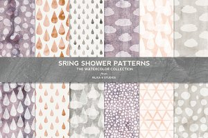 Spring Shower Watercolor Patterns