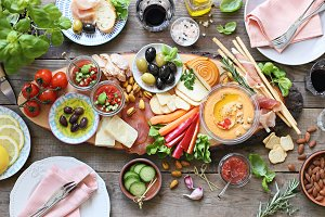 Mediterranean appetizers table