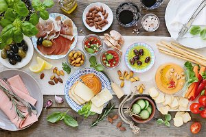 Mediterranean diner table with tapas