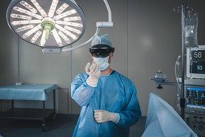 Surgeon using AR headset