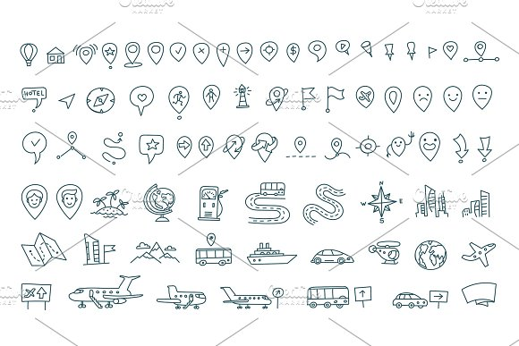 Hand Draw Map Set Elements Transport Tracking Travel Geography Road Icons Sketch Set Outline Line Drawing Collection Set Vector Stock Clipart Illustration