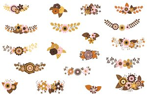 Boho wedding flower clipart set