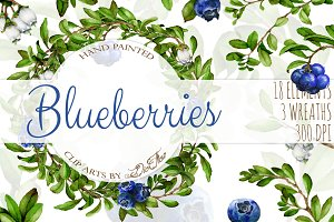 Blueberries Watercolor Clip Art