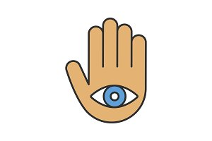 Eye in hand color icon