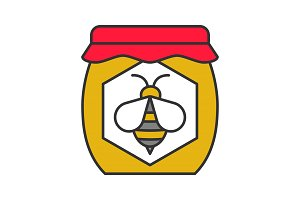 Honey jar color icon