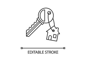 Key with trinket house linear icon
