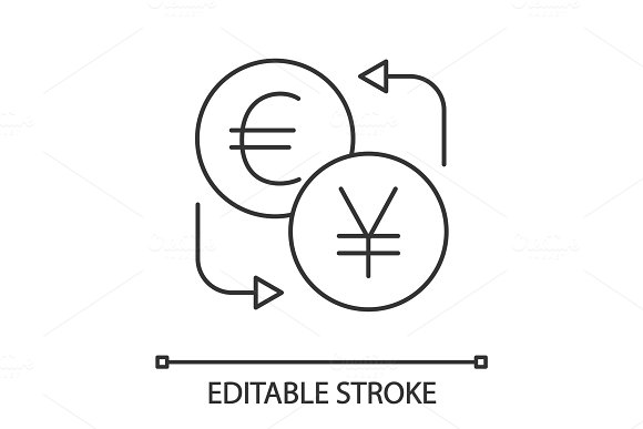 Euro And Yen Currency Exchange Linear Icon