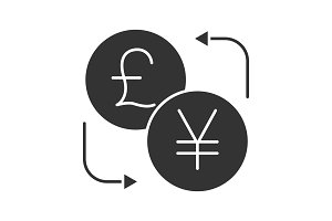 British pound and yen currency exchange glyph icon
