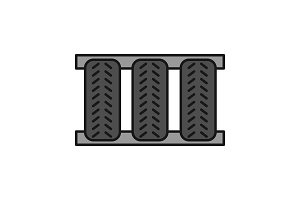 Car tires color icon