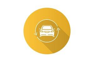 Car with circle arrow flat design long shadow glyph icon