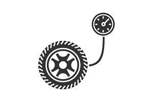 Tire pressure gauge glyph icon