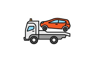 Tow truck color icon