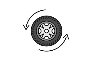 Automobile wheel changing color icon