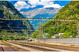 Lavorgo station on the Gotthard railway in Swiss Alps