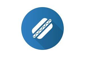 American hot dog flat design long shadow glyph icon
