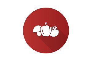 Vegetables flat design long shadow glyph icon