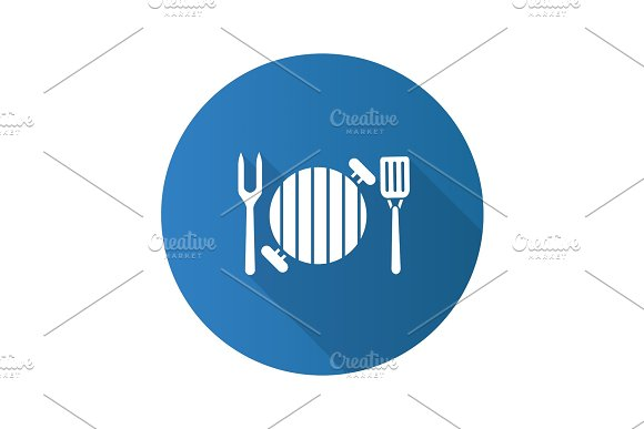 Barbecue Grill With Fork And Spatula Flat Design Long Shadow Gly