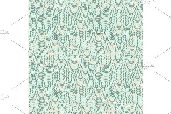 Seamless Wave Hand Drawn Pattern Abstract Vintage Background