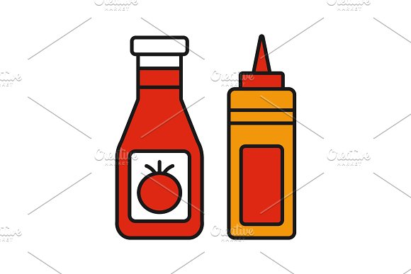 Ketchup And Mustard Color Icon