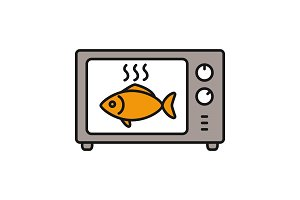 Cooking fish in microwave oven color icon