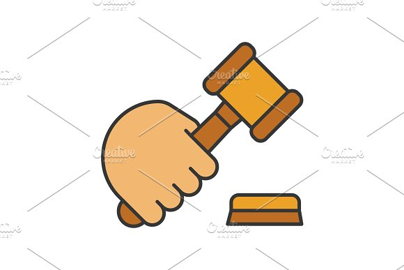 Hand Holding Gavel Color Icon