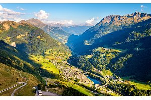 View of Airolo village from the Gotthard Pass, Switzerland